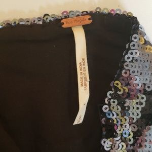 Free People Tops - Free people sequin crop bustier velvet strap small